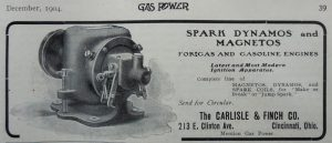 Carlisle and Finch motor shot of spark dynamos and magnetos